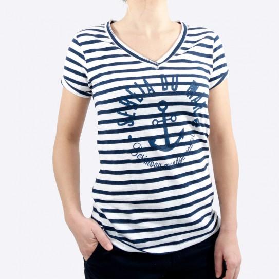T-shirt col V femme Marinière / Blanc