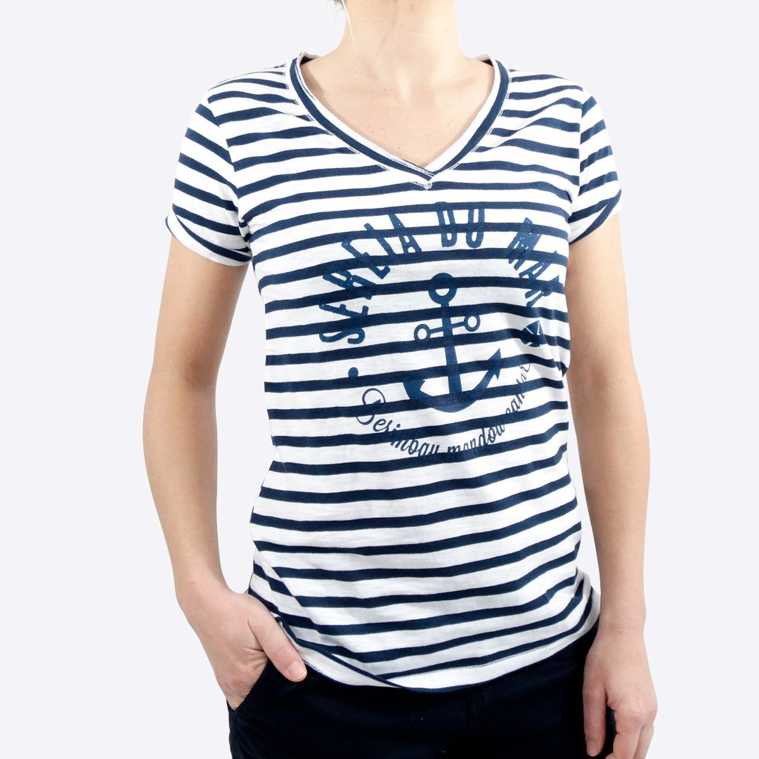 5a6cfb5266cdf T-shirt Marinière / Blanc femme