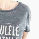 T-shirt col rond délavé femme
