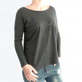 T-shirt ML col rond évasé femme